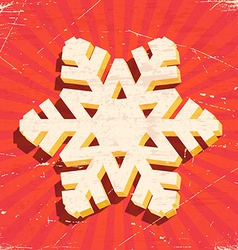 Scratched vintage card with 3D christmas snowflake vector image