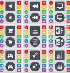 Sound Rewind Monitor Shopping cart Laptop Speaker vector image vector image