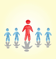 successful man stood out from the crowd watercolor vector image vector image
