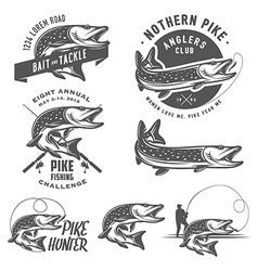 Vintage pike fishing emblems and logos vector image vector image
