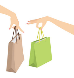 woman hand holding shopping bag vector image vector image