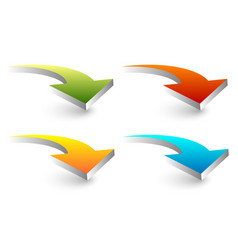 3d curved bent arrows in four colors vector image