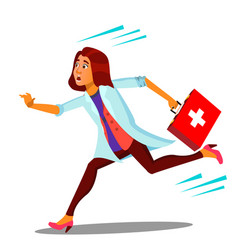 ambulance running doctor woman with first aid box vector image