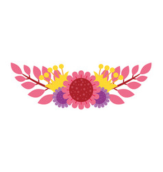 Beautiful floral bouquet bunch of flowers vector