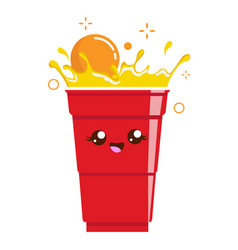 Beer pong cup mascot plastic cup and ball vector