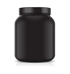 black blank plastic jar isolated on white vector image