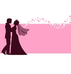 Bride and groom at the wedding background vector image