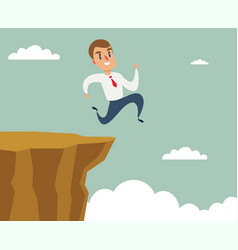 Businessman running and jump over cliff gap to vector