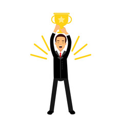 Businessman standing and holding winner golden cup vector