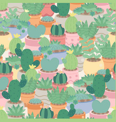 Cactus and succulent in pot seamless pattern vector