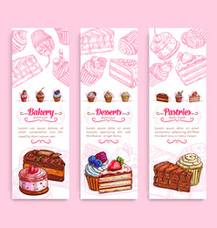 cake desserts banner for bakery and pastry design vector image