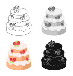 Cake with roses icon in cartoon style isolated on vector