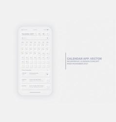 Calendar app november 2021 ui ux neumorphic vector