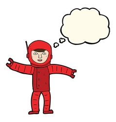 Cartoon space man with thought bubble vector