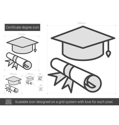 Certificate degree line icon vector image