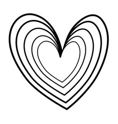 contour nice heart element icon design vector image