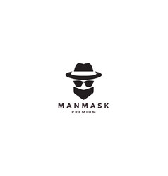 Cool man head with hat and mask logo symbol icon vector