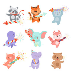 cute animal characters with party poppers set vector image