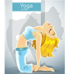 cute blond girl in a yoga pose of camel vector image