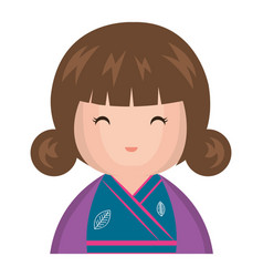 cute little japanese doll vector image