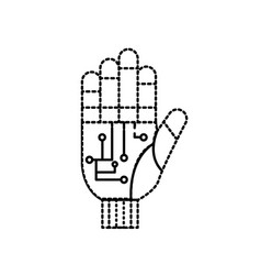 Dotted shape hand with circuits and cyberspace vector