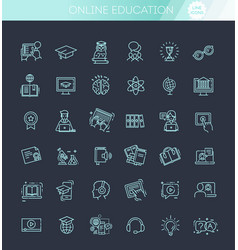 e-learning online education elements vector image