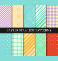 Easter seamless patterns set eggs gingham polka vector