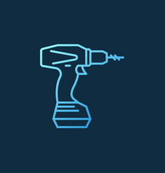 electric screwdriver blue linear icon or vector image