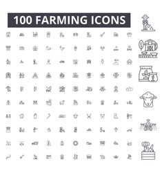 farming editable line icons 100 set vector image
