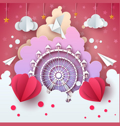 ferris wheel in cloud - cartoon vector image
