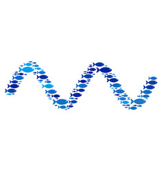 Fish sinusoid wave mosaic vector