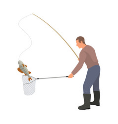 Fisherman with landing net and catch vector