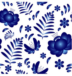 flower seamless pattern background in traditional vector image