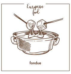 fondue sketch icon for european swiss food cuisine vector image