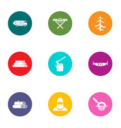Forest area icons set flat style vector