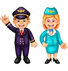 Funny pilot and stewardess cartoon vector