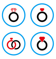 Gem ring rounded icons vector