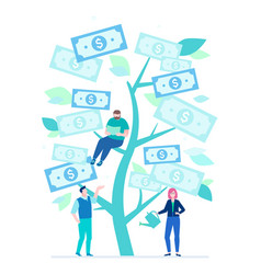Growing money - flat design style colorful vector
