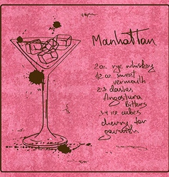 Hand drawn Manhattan cocktail vector