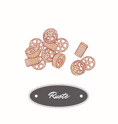 Hand drawn pasta rotelle - ruote isolated on white vector
