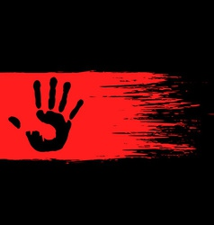 handprint on the red paint vector image