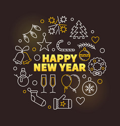 happy new year colored circular line vector image
