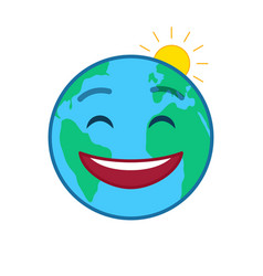 happy world globe isolated emoticon vector image