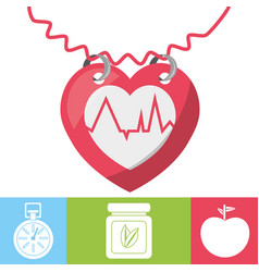 heartbeat with chronometer natural pills and vector image
