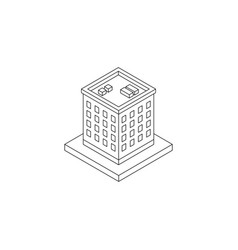 isometric black outline building vector image