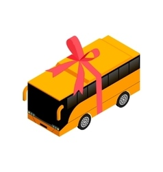 Isometric bus with ribbon vector image