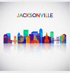 jacksonville skyline silhouette in colorful vector image