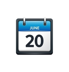 June 20 Calendar icon flat vector