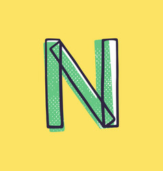 Kid style letter n logo hand-drawn with a marker vector