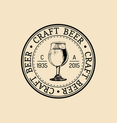 kraft beer glass logo old brewery icon lager cup vector image